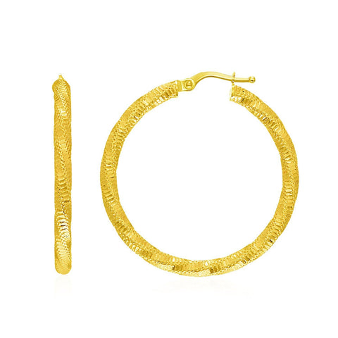 14K Yellow Gold Spiral Texture Hoop Earrings
