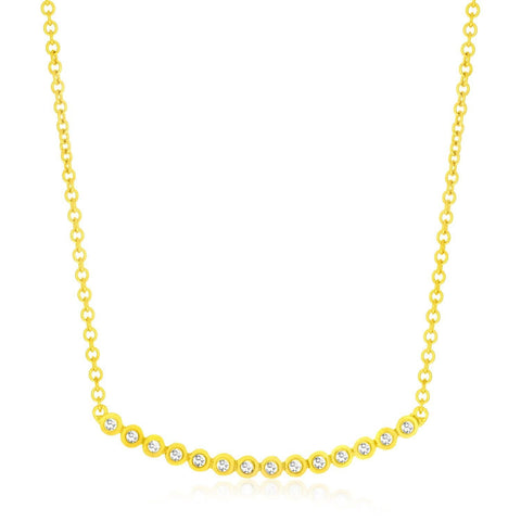 14K Yellow Gold Circle Link Curved Diamond Accented Necklace 17 inches