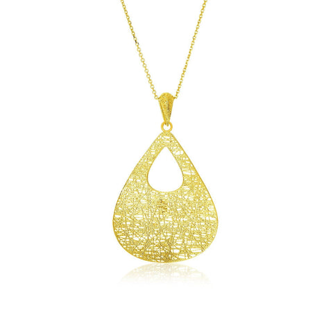 14K Yellow Gold Mesh Cutout Teardrop Pendant 18 inches