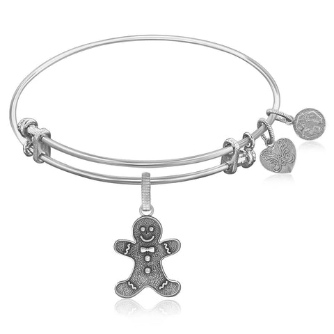 Expandable Bangle in White Tone Brass with Gingerbread Man Symbol