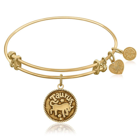 Expandable Bangle in Yellow Tone Brass with Taurus Symbol