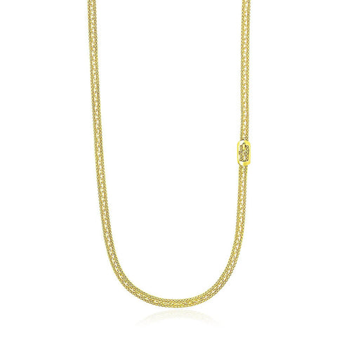 14K Yellow Gold Buckle Design Station Popcorn Chain Necklace 18 inches