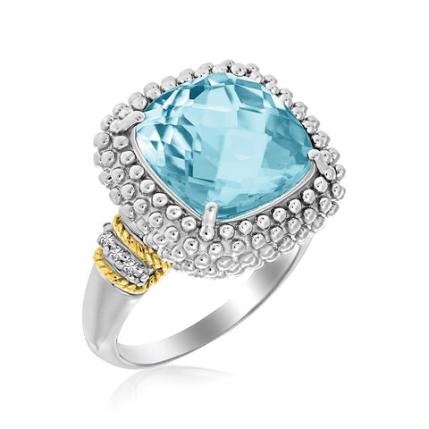 18K Yellow Gold & Sterling Silver Sky Blue Topaz and Diamond Popcorn Ring Size 8