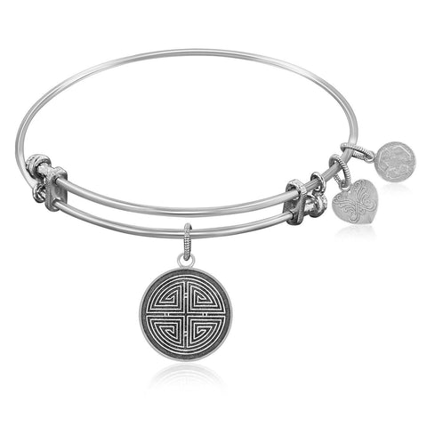 Expandable Bangle in White Tone Brass with Longevity and Prosper Symbol
