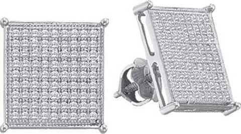 10k White Gold 0.10 ctw Diamond Micro Pave Earrings: