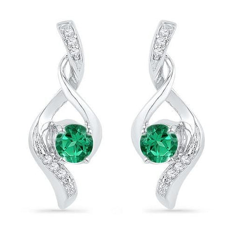 10k White Gold 0.05 ctw Diamond 0.28 ctw Created Emerald Earring: