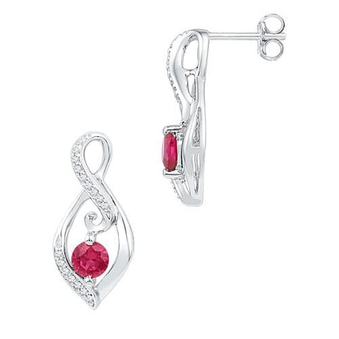 10k White Gold 0.10 ctw Diamond 0.86 ctw Created  Ruby Earring: