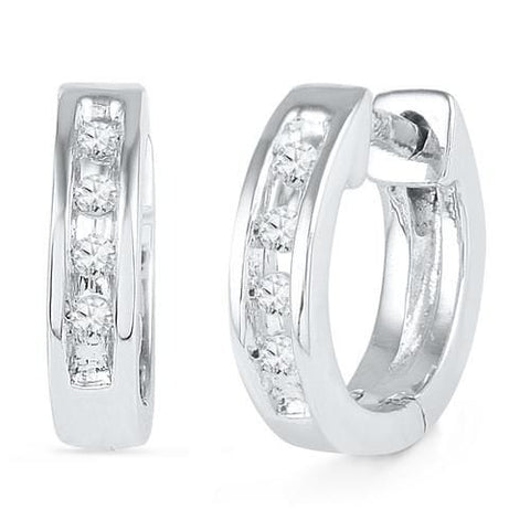 10k White Gold 0.06 ctw Diamond Hoops Earrings: