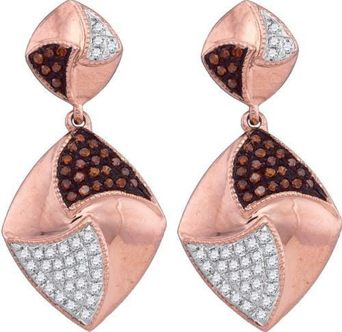 10k Rose Gold 0.33 ctw Red Diamond Micro-Pave Earring: