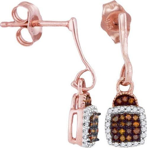 10k Rose Gold 0.18 ctw Red Diamond Micro-Pave Earring: