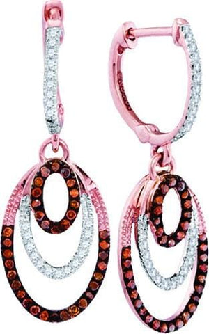 10k Rose Gold 0.33 ctw Red Diamond Fashion Earring: