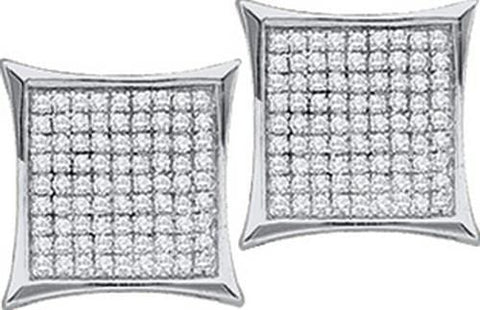 10k White Gold 0.05 ctw Diamond Micro Pave Earring: