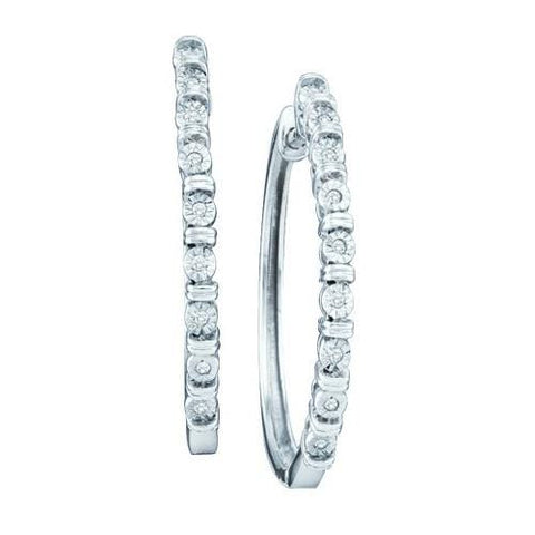 10k White Gold 0.05 ctw Diamond Micro Pave Fashion Hoop Earrings: