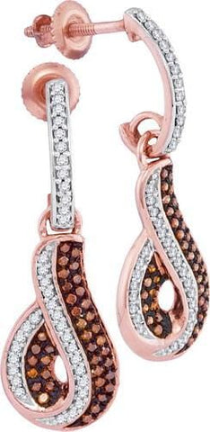 10k Rose Gold 0.40 ctw Red Diamond Mirco-Pave Earrings: