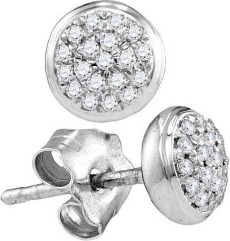 10k White Gold 0.09 ctw Diamond Micro-Pave Earring: