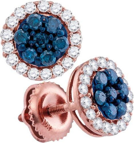 10k Rose Gold 0.50 ctw Blue Diamond Fashion Earring: