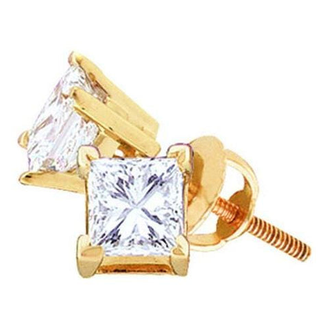 0.50ctw Princess Solitaire Diamond 14K Yellow Gold Screw back Stud Earrings (Supreme):