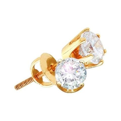 1.50ctw Round Solitaire Diamond 14K Yellow Gold Screw back Stud Earrings (Supreme):