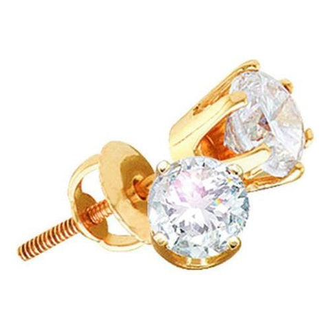 0.25ctw Round Solitaire Diamond 14K Yellow Gold Screw back Stud Earrings (Excellent):