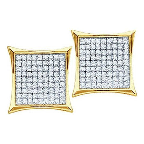 0.10ctw Diamond Micro-Pave 10K Yellow Gold Square Pushback Stud Earrings: