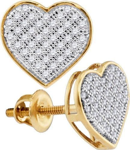 0.20ctw Diamond 10K Yellow Gold Heart Pushback Stud Earrings: