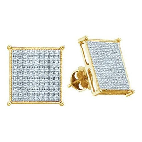 0.05ctw Diamond Micro-Pave 10K Yellow Gold Square Stud Earrings: