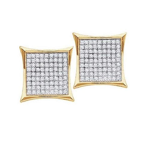 0.15Ct Diamond Micro-Pave 10K Yellow Gold Square Stud Earrings: