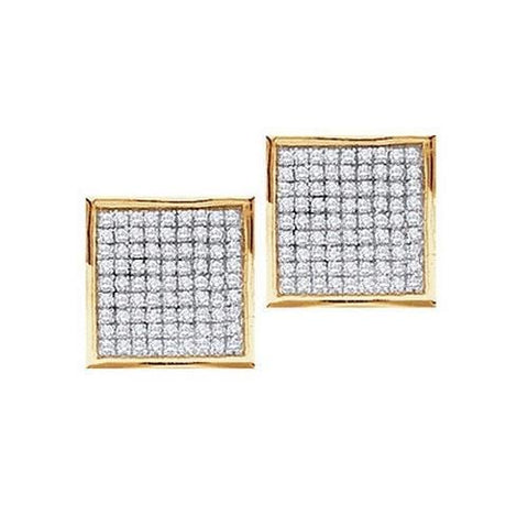 0.15Ct Diamond 10K Yellow Gold Square Stud Earrings: