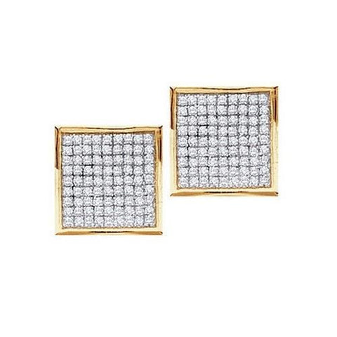 0.23Ct Diamond 10K Yellow Gold Square Stud Earrings: