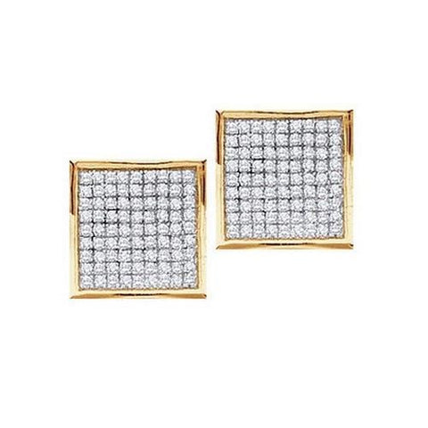 0.90Ct Diamond 10K Yellow Gold Square Stud Earrings: