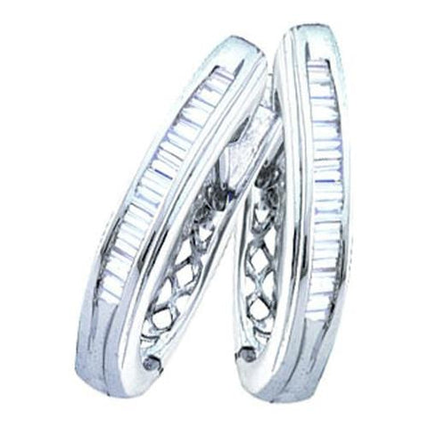 0.25Ctw Diamond Micro-Pave 10K White Gold Hoop Earrings: