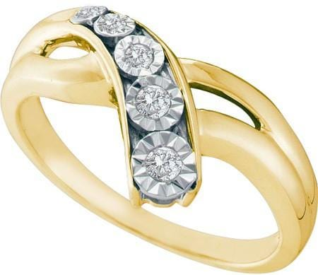 .925 Sterling Silver Gold Plated 0.10CTW  DIAMOND FASHION RING size 7
