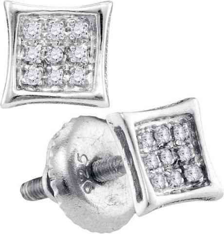 0.05Ct Diamond Micro-Pave White Gold Plated Sterling Silver Square Stud Earrings: