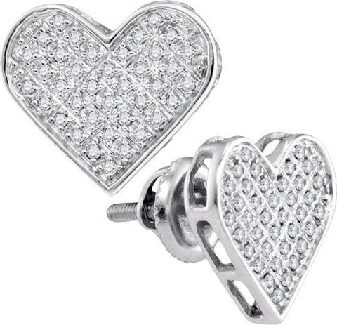 0.25Ct Diamond White Gold Plated Sterling Silver Heart Stud Earrings: