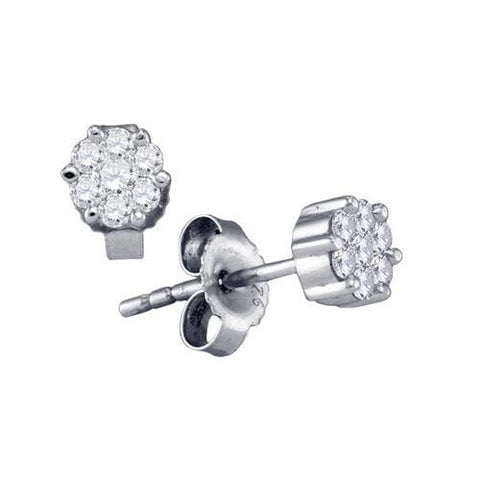 0.25Ct Round Diamonds White Gold Plated Sterling Silver Flower Cluster Stud Earrings:
