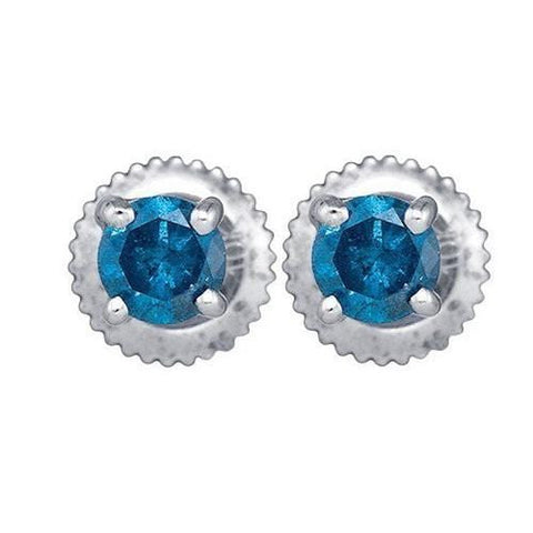 1.00Ct Blue Diamond 10K White Gold Screw back Stud Earrings: