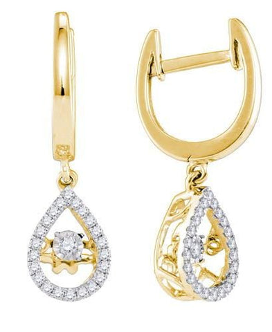 10k Yellow Gold 0.25 ctw Diamond Twinkle Earrings: