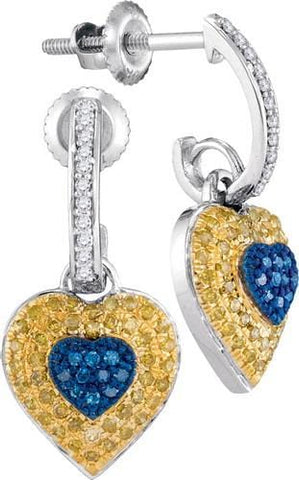 10k White Gold 0.33 ctw Mix Color Diamond Micro-Pave Heart Earring: