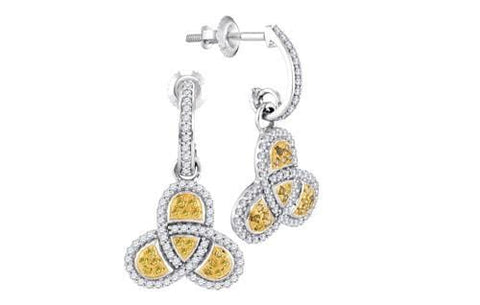 10k White Gold 0.50 ctw Yellow Diamond Micro-Pave Earring: