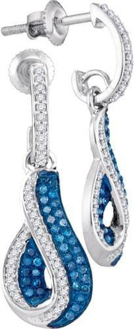 10k White Gold 0.40 ctw Blue Diamond Micro-Pave Earring: