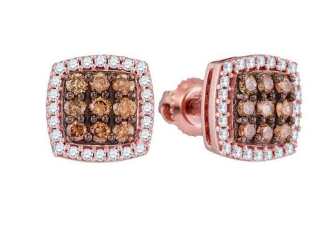 10k Rose Gold 0.50 ctw Brown Diamond Micro-Pave Earring: