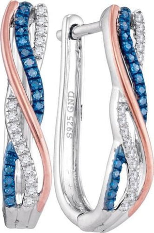 10k White Gold Two Tone 0.15 ctw Blue Diamond Fashion Hoop Earrings: