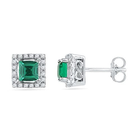 10k White Gold 0.12 ctw Diamond 1.00 ctw Created  Emerald Earring: