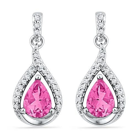 10k White Gold 0.20 ctw Diamond 3.00 ctw Created Pink Sapphire Earring: