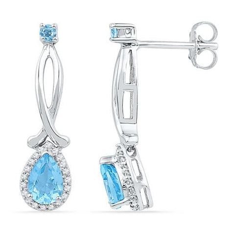 10k White Gold 0.12 ctw Diamond 1.11 ctw Blue Topaz Earring: