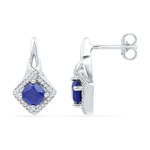 10k White Gold 0.16 ctw Diamond 2.00 ctw Created  Blue Sapphire Earring: