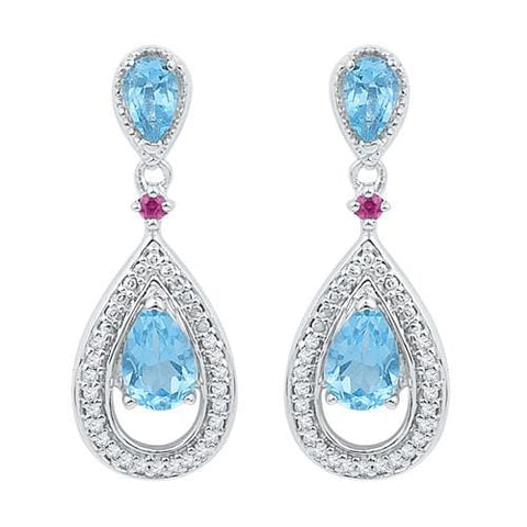 10k White Gold 0.12 ctw Diamond 1.47 ctw Blue Topaz Earring: