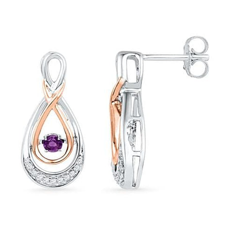 10k White Gold Two Tone 0.08 ctw Diamond 0.14 ctw Amethyst Earring: