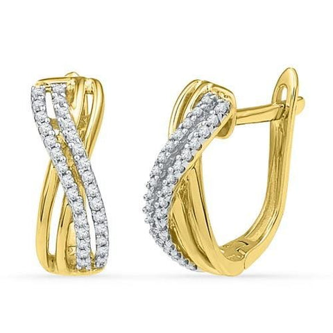 10k Yellow Gold 0.20 ctw Diamond Cluster Earring:
