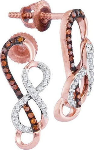 10k Rose Gold 0.15 ctw Red Diamond Mirco-Pave Earrings:
